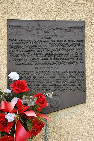Warsaw airlift - Plaque in memory of Herbert J. Brown, 31st squadron SAAF airman killed during the airlift: Łódź Doły Cemetery, Poland