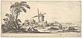 Plate 10- a family in center foreground, various figures and horses in middleground, a windmill in center background, from 'Various landscapes' (Divers paysages) MET DP827789.jpg