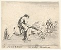 Plate 5- a barefoot peasant on horseback crossing a river, another peasant on horseback and leading a horse on a bank to right in the background, from 'Diversi capricci' MET DP833176.jpg