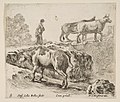 Plate 9- a cow ascending a bank, a peasant woman leading two cows across a bridge in background, from 'Diversi capricci' MET DP817409.jpg