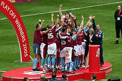 West Ham celebrate winning the 2005 play-off final