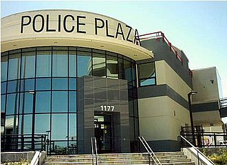 San Bruno, California - The San Bruno police station next to the BART station at the Shops at Tanforan.