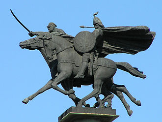 "Polish cavalry - Monument in Warsaw 1000 years of Polish cavalry. ""Pancerny"" from medieval drużyna of Mieszko I and Polisn uhlan during World War II"