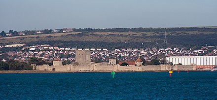 Portchester combined Roman and Norman castles Portchester Castle from seawards.jpg