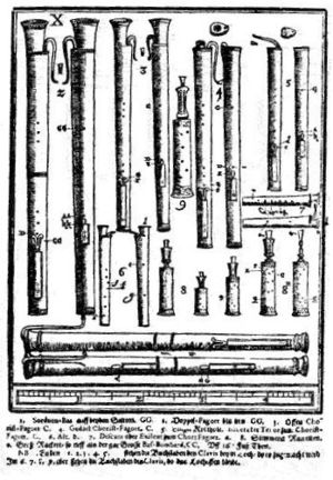 Bassoon - Dulcians and racketts, from the Syntagma musicum by Michael Praetorius.
