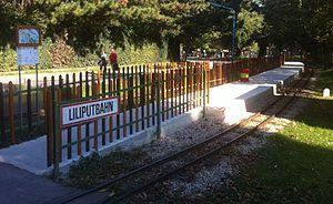 Prater Liliputbahn - Schweizerhaus Luftburg (Swiss House Station), showing the single platform.