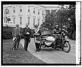 President Coolidge, sidecar motorcycle, in front of White House), 6-6-24 LOC npcc.11539.jpg
