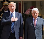 President Donald Trump participates in arrival ceremonies with President Mahmoud Abbas of the Palestinian Authority at the Presidential Palace, Tuesday, May 23, 2017, in Bethlehem. (cropped).jpg