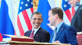 President Obama and President Dmitry Medvedev preparing to sign the New START treaty from West Wing Week 02 24 Tiny Marzipan Beaks (public domain - work of the federal governments).png