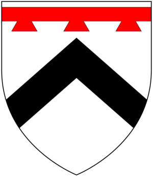 Orcheton, Modbury - Arms of Prideaux: Argent, a chevron sable in chief a label of three points gules