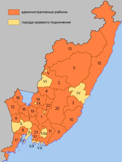 Carta dei rajon e dei distretti urbani del Territorio del Litorale. Con i numeri da 1 a 22 vengono indicati i rajon (distretti), mentre con i numeri romani vengono indicati i distretti urbani direttamente dipendenti dal Territorio