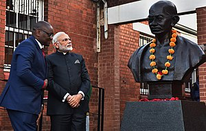 India–South Africa relations - Indian Prime Minister Narendra Modi and Gauteng Premier David Makhura at the Gandhi monument, Constitution Hill, Johannesburg