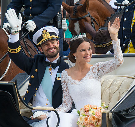 Prince Carl Philip and his wife after their wedding ceremony on 13 June 2015 Prince Carl Philip and Princess Sofia-2.jpg