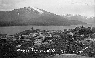 Prince Rupert, British Columbia - Prince Rupert, May 1910. Looking north toward Mount Morse.