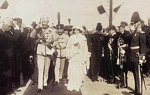Peasant Revolt in Albania - Prince William and his wife Sophie arriving in Albania on March 7, 1914