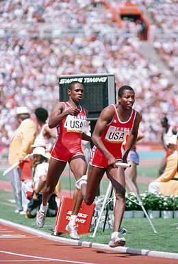 Public Domain 4 x 400 Relay at the Summer Olympics by Ken Hackman, August 1984 (DOD DD-SC-85-09738) (514592022).jpg