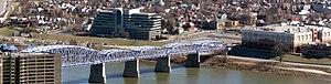 Newport Southbank Bridge - Image: Purplepeoplebridge