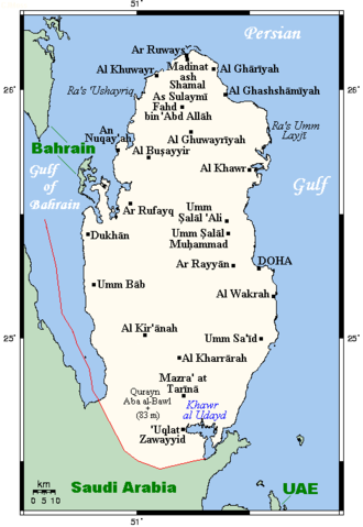 Khawr al Udayd - Map Of Qatar. Khawr al Udayd is located at the southeastern extremity of the country.
