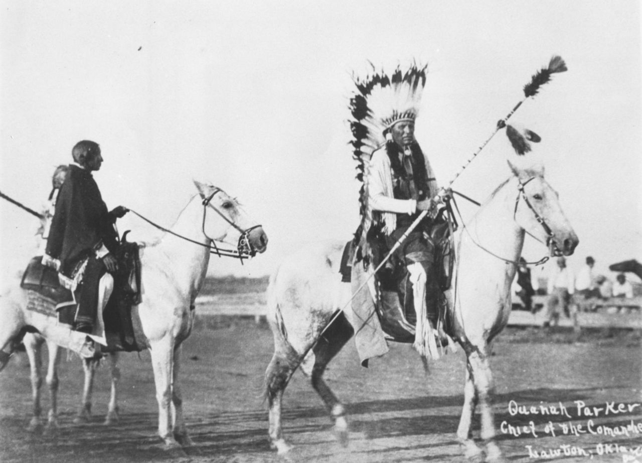 Chief Quanah Parker on horseback