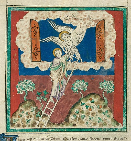 Queen Mary Apocalypse - BL Royal MS 19 B XV f. 5v - Door opened in Heaven