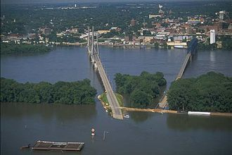 Quincy, Illinois - Quincy during the flood of 1993.  Quincy was protected by the bluffs; however, West Quincy, Missouri, across the river, was completely submerged.