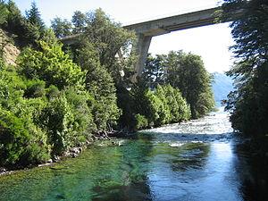 Nahuel Huapi National Park - Route 231 bridge across the Correntoso River that flows into Lake Nahuel Huapi.