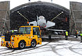 RAF Typhoon Jet is Towed from its Hangar at RAF Coningsby in the Snow MOD 45152132.jpg