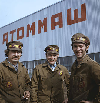 Atommash - 1977, builders of the future industrial giant