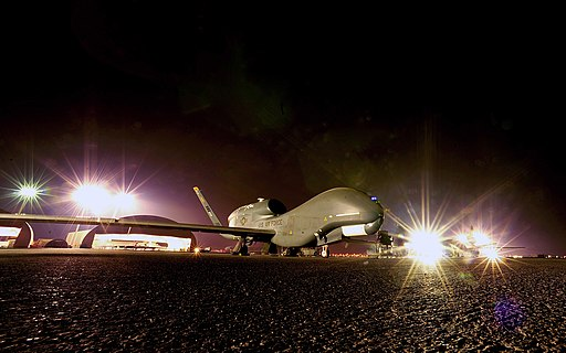 RQ-4 sits on the flight line in 010