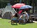 Radlett Cricket Club pavilion spectators, Hertfordshire, England 1.jpg