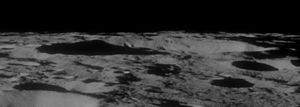 Raimond (crater) - Highly oblique view of Raimond from Apollo 11