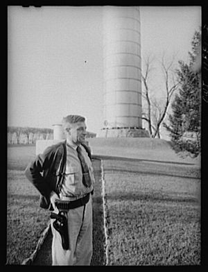 Lititz, Pennsylvania - Ralph Miller guarded the Lititz water works for sixteen years.  Photo by Marjory Collins in 1942.
