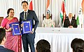 Ram Nath Kovind and the President of the Republic of Suriname, Mr. Desire Delano Bouterse witnessing the exchange of documents of various agreements between India and Suriname, at Presidential Palace, in Suriname (1).JPG