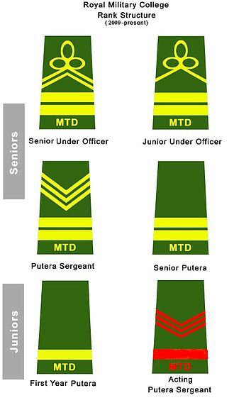 Royal Military College (Malaysia) - Rank Structure from 2009 to 2013