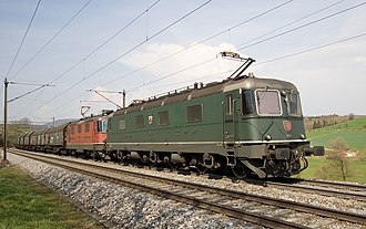 SBB-CFF-FFS Re 620 - Re 620 and Re 4/4II or III leading a freight train  on the northern Bözberg incline