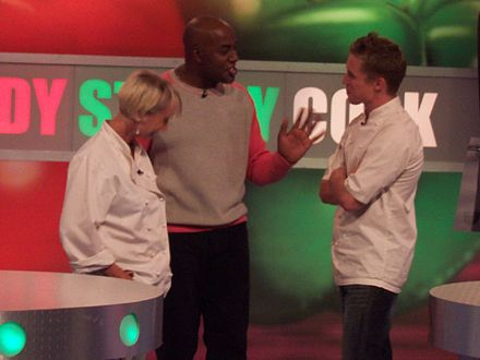 Harriott on the set of Ready Steady Cook, August 2004