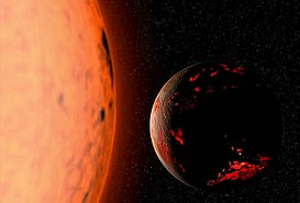 A dark gray and red sphere representing the Earth lies against a black background to the right of an orange circular object representing the Sun