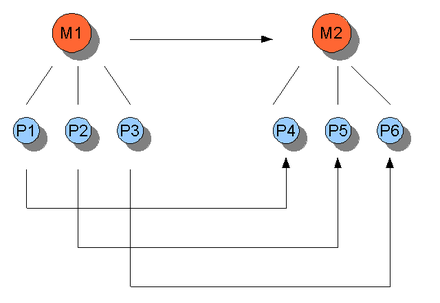 An illustration of multiple realizability. M stands for mental and P stands for physical. It can be seen that more than one P can instantiate one M, but not vice versa. Causal relations between states are represented by the arrows (M1 goes to M2, etc.). Reduktionismus.png