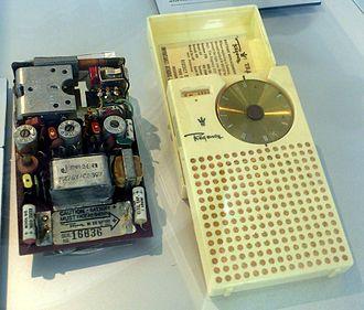 Regency TR-1 - TR-1, circuit board and casing. Exhibit of Deutsches Museum, Munich