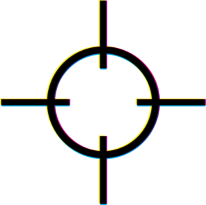 Registration black - A registration mark showing a slight misalignment of the printing heads, resulting in subtle color hues visible around the edges of the black area (click image to zoom in).