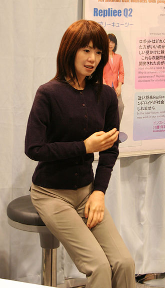 Uncanny valley - In an experiment involving the human lookalike robot Repliee Q2 (pictured above), the uncovered robotic structure underneath Repliee, and the actual human who was the model for Repliee, the human lookalike triggered the highest level of mirror neuron activity.