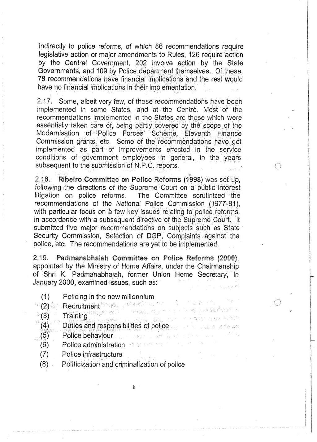 Padmanabhaiah committee report on police reforms in america