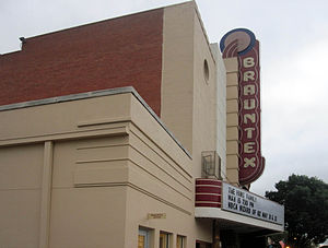 National Register of Historic Places listings in Comal County, Texas - Image: Restored Brauntex Theater, New Braunfels, TX IMG 3248