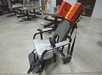 Force-feeding - Guantanamo captives who will not comply with force-feeding have their arms, legs and head restrained in a feeding chair. They remain strapped in the chair until the nutrient is digested, to prevent induced vomiting.