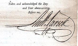 Richard Varick - Signature of Richard Varick while Mayor of New York (1798)