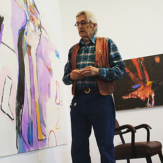 Rick Bartow - Rick Bartow with his paintings at Froelick Gallery, Portland, Oregon.  Photo credit: Wilder Schmaltz