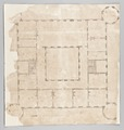 Ritning, byggnadsritning, plan över slottets tredje våningsplan - Skoklosters slott - 87845.tif