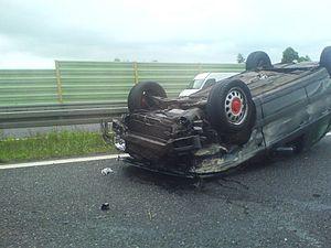 Wypadek na autostradzie A4.