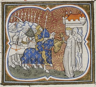 Constance of Arles - 14th-century depiction of Constance surrendering to her son Henry I of France.