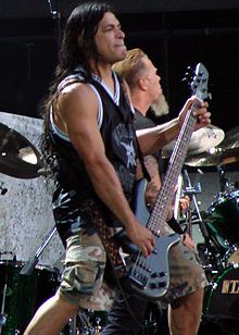 Robert Trujillo performing live with Metallica at Wembley Stadium in London, England, July 7, 2007.
